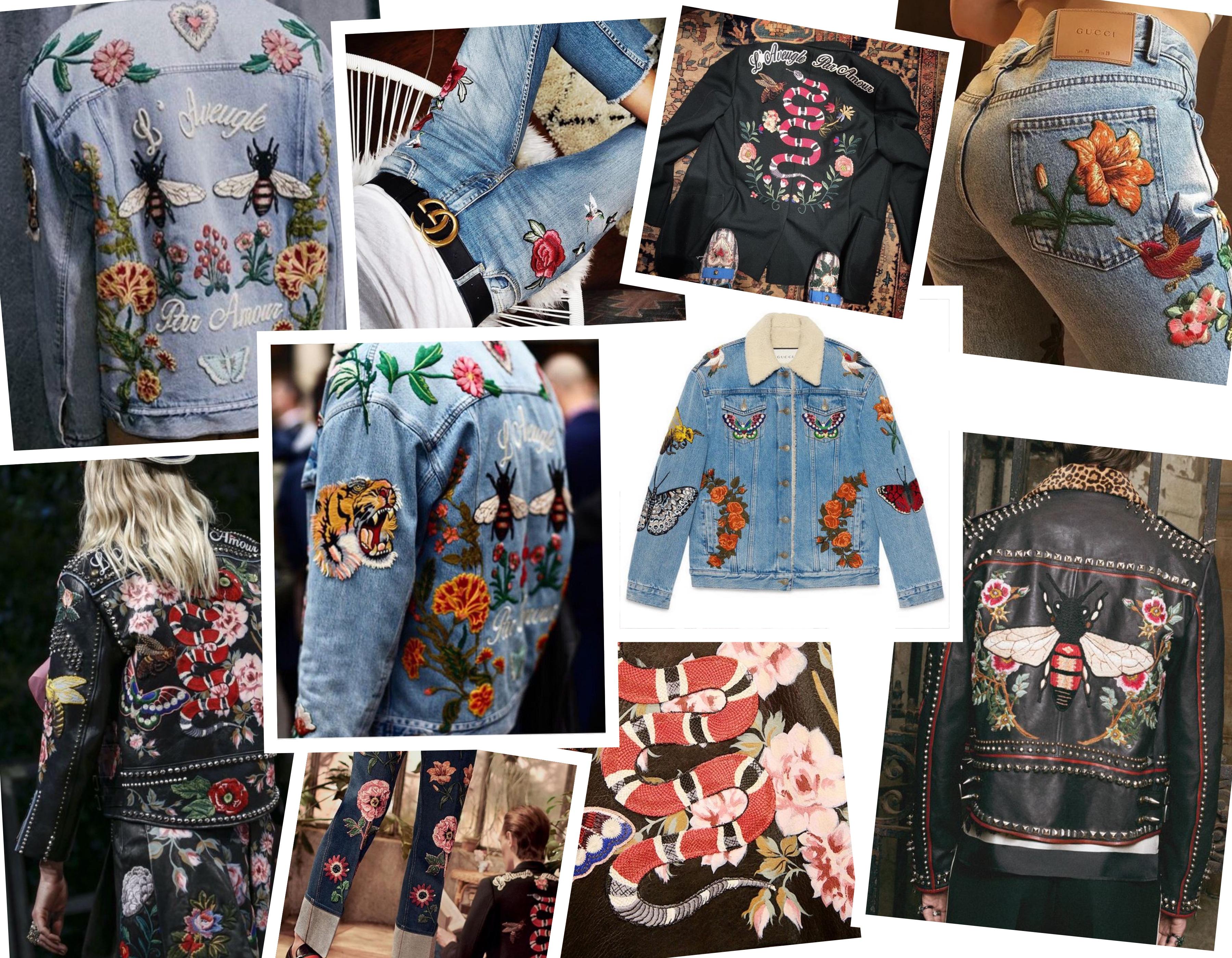 diy gucci embroidered denim ellekae