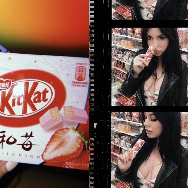 ellekae lauren king trying japanese snacks